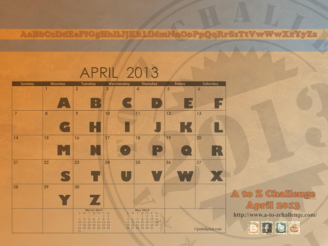 A to Z challenge calender