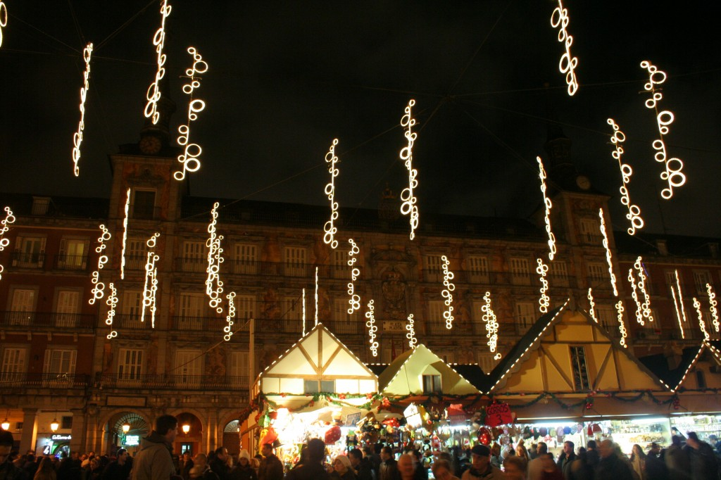 Xmas market and lights at Plaza Mayor, Madrid
