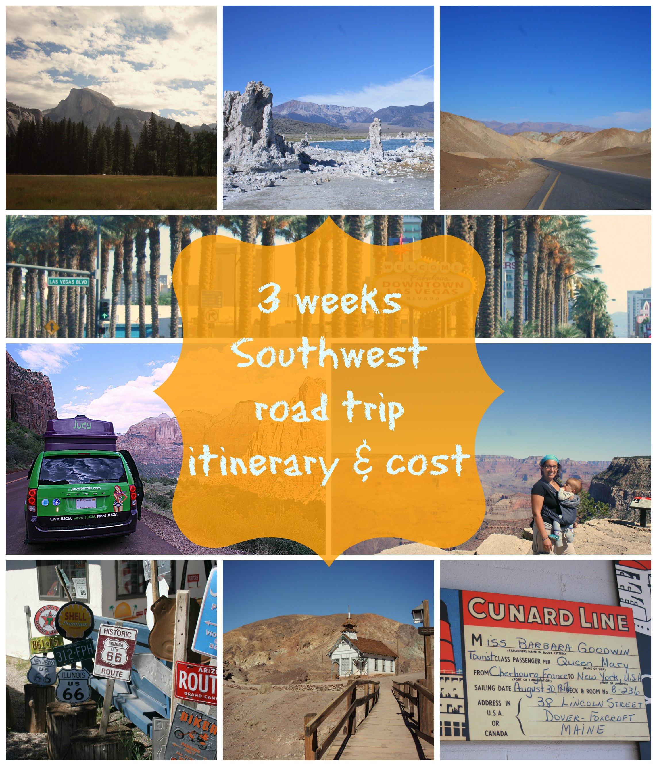 itinerary and costs southwest jucy road trip