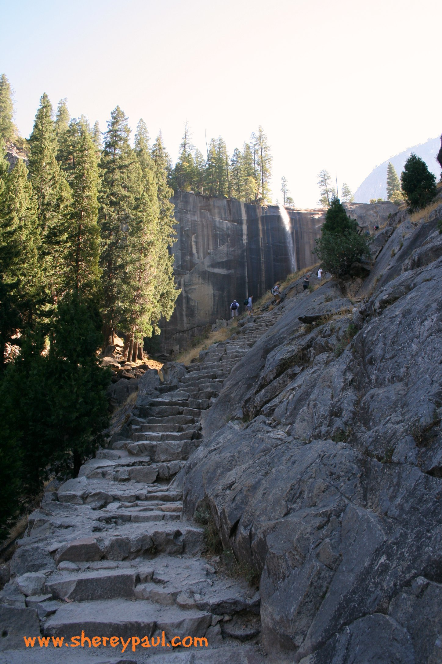 hiking with baby in yosemite np - stairs to vernal falls
