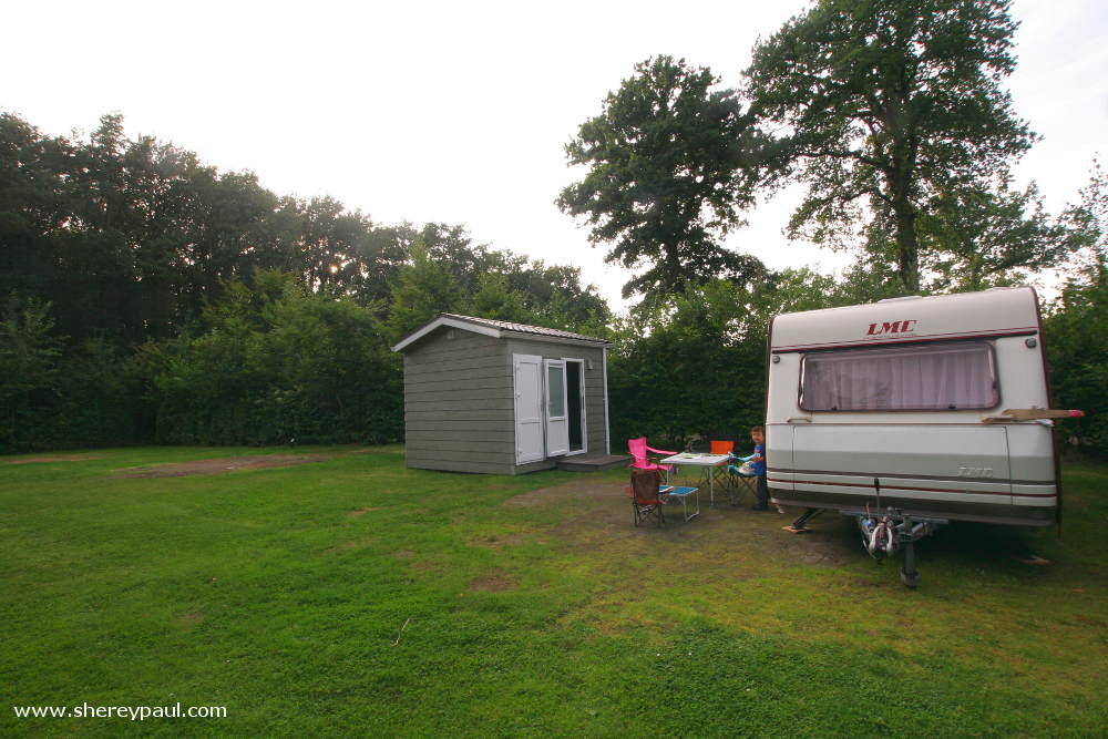 Our caravan and our private toilet building